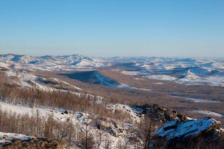 Winter landscape of a mountainous area in Sunny