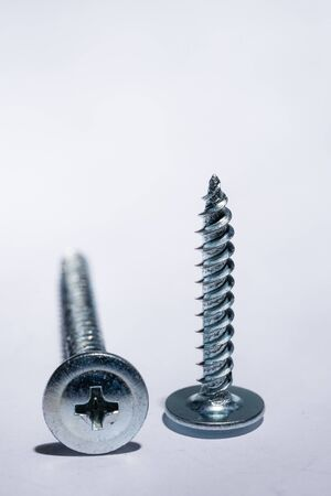 Close-up of a metal chromed metal screw on a white background. Space for text. Repair concept Standard-Bild