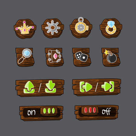 game meat: Set of colorful game icons and elements will fit big range of games. Illustration