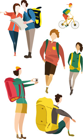 Great designed set of travel character that can be used in various templates Illustration
