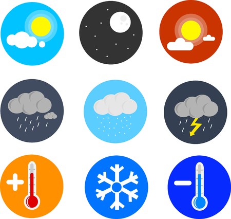 Great designed set of set of weather icons that can be used in various templates Illustration