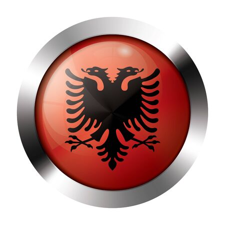 albanian: Round shiny metal button with flag of albania europe