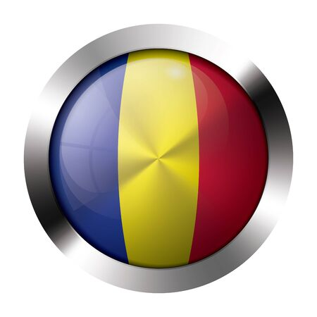 Round shiny metal button with flag of andorra europe  Illustration