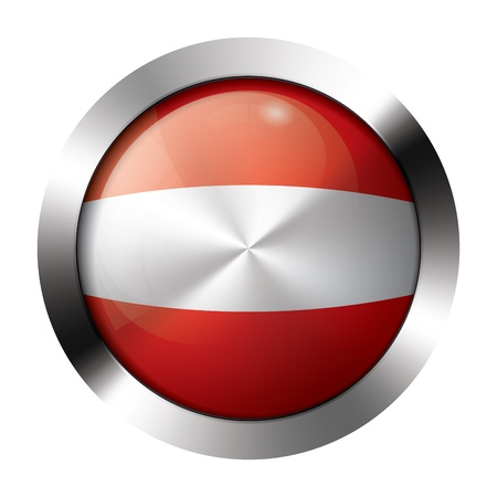 sphere icon: Round shiny metal button with flag of austria europe