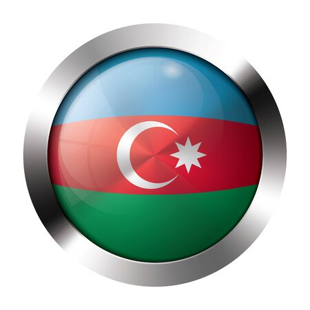Round shiny metal button with flag of azerbaijan europe  Illustration