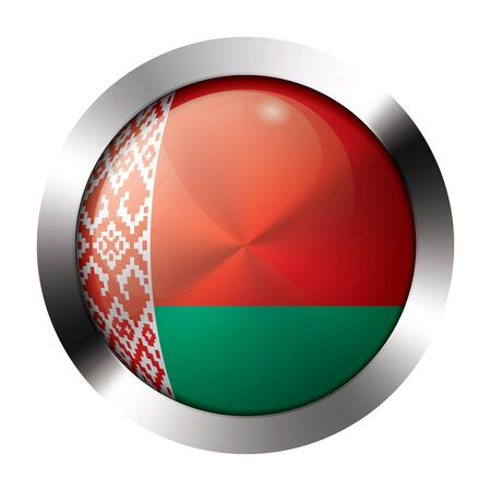 Round shiny metal button with flag of belarus europe  Illustration