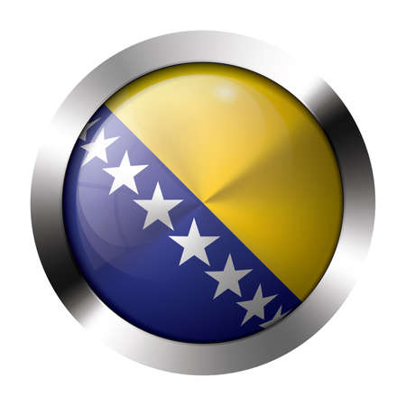 Round shiny metal button with flag of bosnia and herzegovina europe  Vector