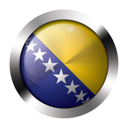 herzegovina: Round shiny metal button with flag of bosnia and herzegovina europe