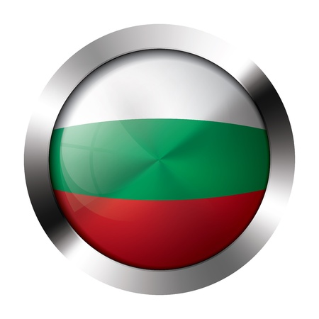 Round shiny metal button with flag of bulgaria europe  Vector