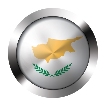 Round shiny metal button with flag of cyprus europe