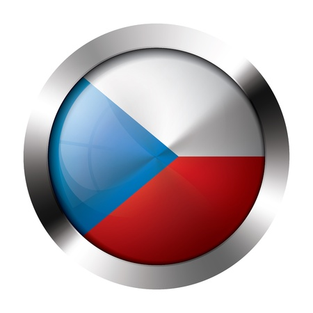 Round shiny metal button with flag of the czech republic europe. Illustration
