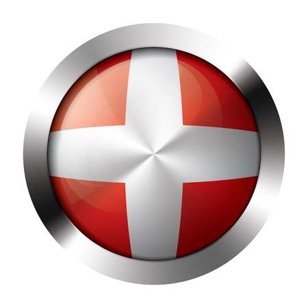 Round shiny metal button with flag of denmark europe.