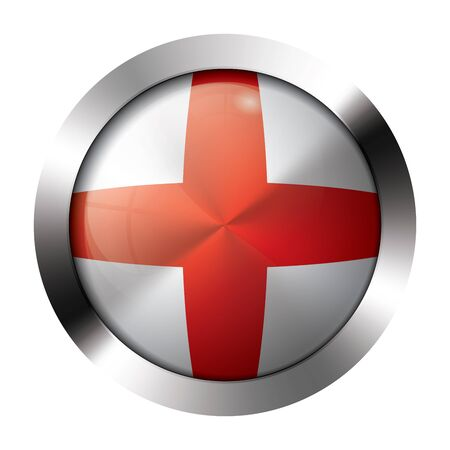 Round shiny metal button with flag of england europe. Illustration