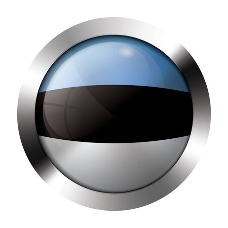 Round shiny metal button with flag of estonia europe. Stock Vector - 15624469