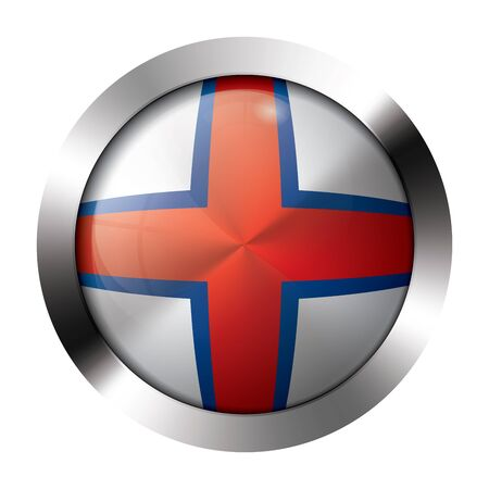 Round shiny metal button with flag of the faroe islands europe.