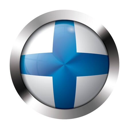 resizeable: Round shiny metal button with flag of finland europe.