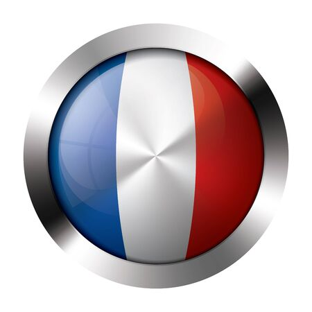 Round shiny metal button with flag of france europe. Stock Vector - 15624467