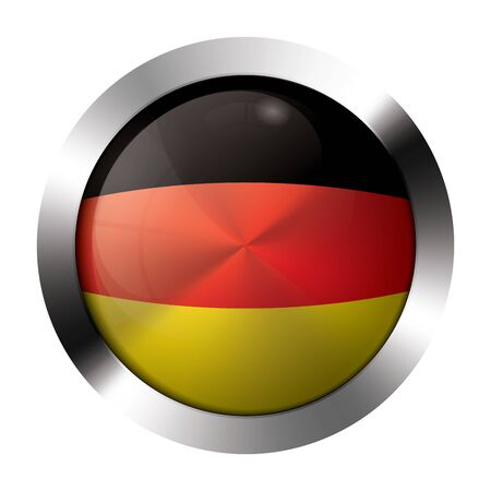Round shiny metal button with flag of germany europe. Stock Vector - 15624468