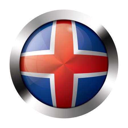 sphere icon: Round shiny metal button with flag of iceland europe.