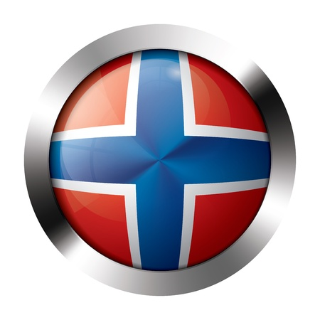 Round shiny metal button with flag of norway europe.