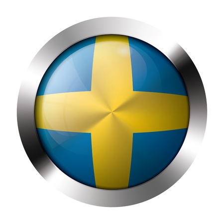 Round shiny metal button with flag of sweden europe.