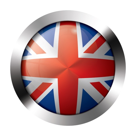 shiny metal: Round shiny metal button with flag of the united kingdom europe.