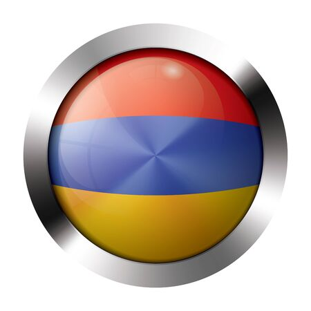 Round shiny metal button with flag of armenia europe.