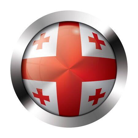 Round shiny metal button with flag of georgia europe.