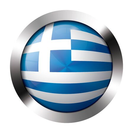 flag button: Round shiny metal button with flag of greece europe.