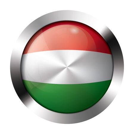 Round shiny metal button with flag of hungary europe.