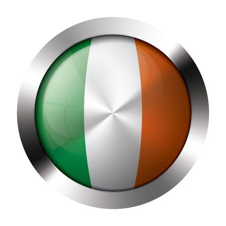 Round shiny metal button with flag of ireland europe. Vector