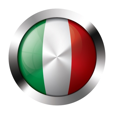 Round shiny metal button with flag of italy europe.