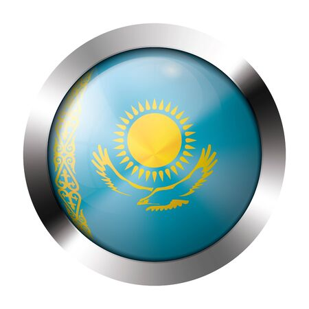 Round shiny metal button with flag of kazakhstan europe. Illustration