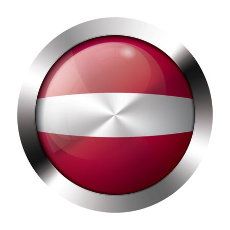 Round shiny metal button with flag of latvia europe. Illustration