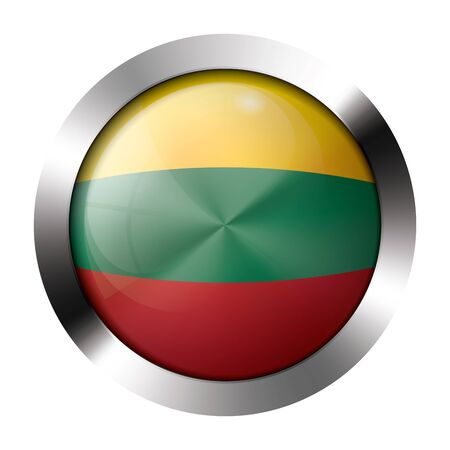 Round shiny metal button with flag of lithuania europe.