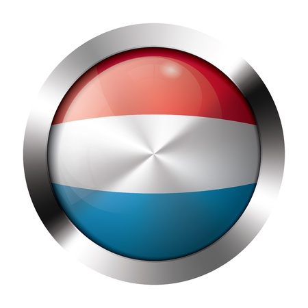 Round shiny metal button with flag of luxembourg europe. Vector