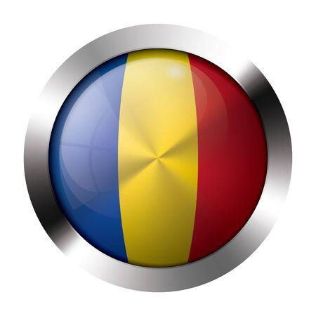 resizeable: Round shiny metal button with flag of moldova europe.