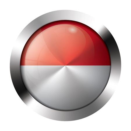 chrome button: Round shiny metal button with flag of monaco europe.