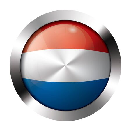Round shiny metal button with flag of the netherlands europe.