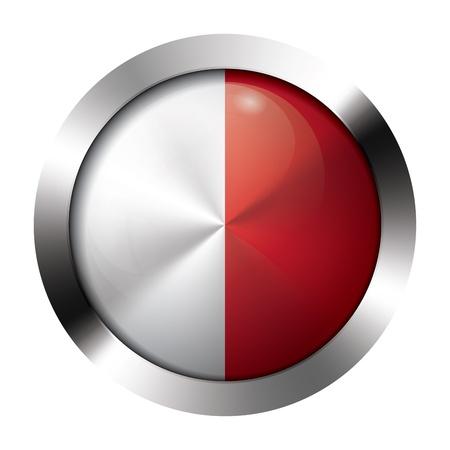 Round shiny metal button with flag of malta europe.