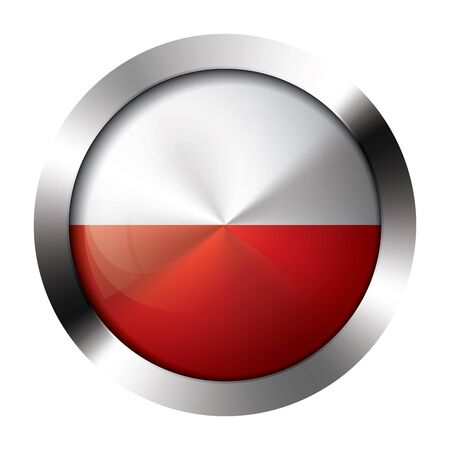polish flag: Round shiny metal button with flag of poland europe. Illustration