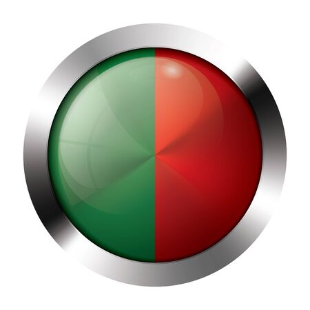 Round shiny metal button with flag of portugal europe.