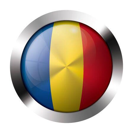 flag button: Round shiny metal button with flag of romania europe. Illustration