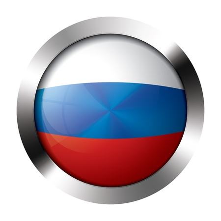 resizeable: Round shiny metal button with flag of russia europe. Illustration
