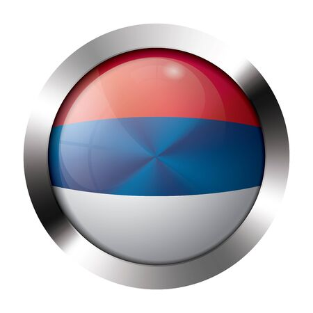 Round shiny metal button with flag of serbia europe. Vector