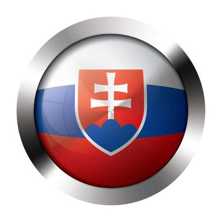 slovakia flag: Round shiny metal button with flag of slovakia europe. Illustration
