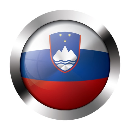 Round shiny metal button with flag of slovenia europe. Illustration