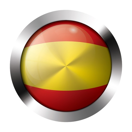 spanish flag: Round shiny metal button with flag of spain europe.