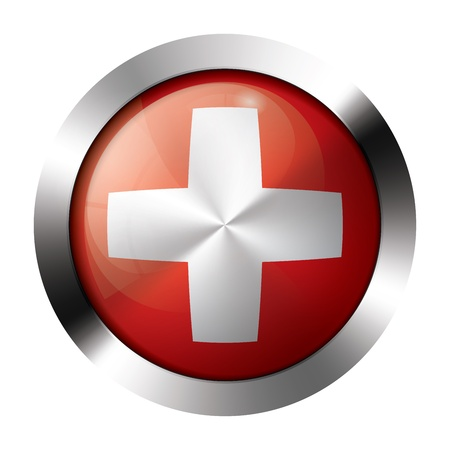 Round shiny metal button with flag of switzerland europe.