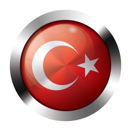 Round shiny metal button with flag of turkey europe. Vector